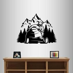 Wall Vinyl Decal Snowmobile Mountains Extreme Sports Winter