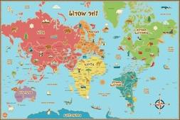 WallPops WPE0624 Kids World Dry Erase Map Wall Decals
