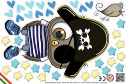 Wallstickers for baby, kids wall decor, pirate owl, stars, h