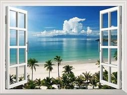 White Beach with Blue Sea and Palm Tree Open Window Mural Wa