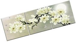 Canvas Prints Wall Decor White Magnolia And Butterfly Under