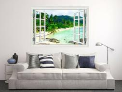White Sand Beach Coconut Tree 3D Window Wall Sticker for Hom