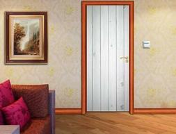 White Wood Planks DOOR WRAP Removable Decal Wall Sticker Mur