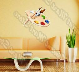 Wooden Palette Paints Brush Painting Wall Sticker Interior D