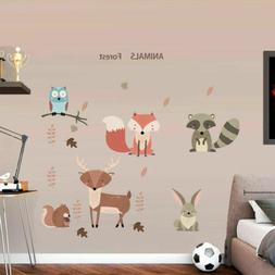 Woodland Forest Animals Wall Decals Birds Deer Fox Wall Stic