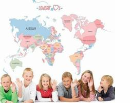 World Map Colorful Letter Wall Sticker For kids Room Home De