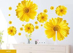 Set of 9 Yellow Chrysanthemums Daisy Flowers Wall Sticker De