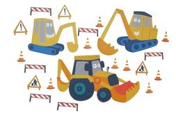 YELLOW DIGGER 21 Wall Decals Construction Trucks Tractor Roo