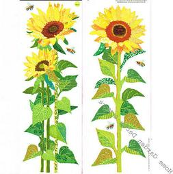 Yellow SUNFLOWER Wall Art Decals Appliques Stickers Peel & S