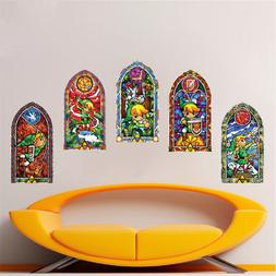 Zelda Stained Glass Wall Decal Zelda Video Game Room Mural S